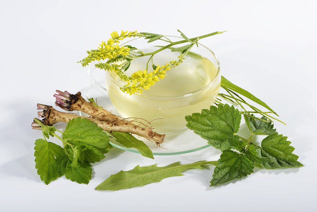 Herbal tea made with herbs, flowers and medicinal plants
