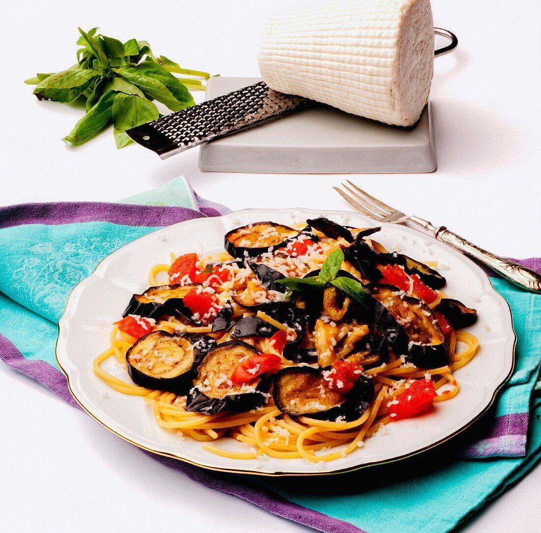 Pasta alla Norma with aubergines and ricotta salata (Sicily)