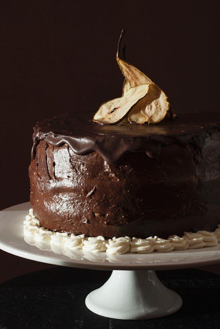 Chocolate torte with dried pears