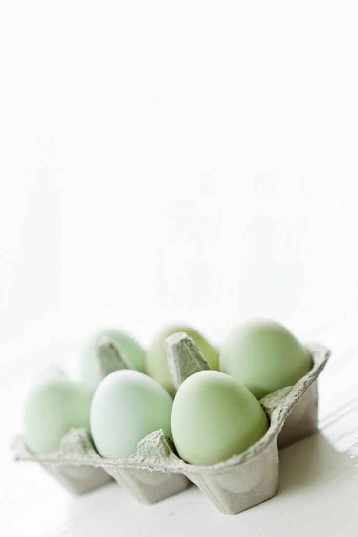 Eggs in a pastel green egg box