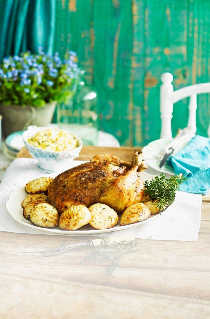 Herb & lemon chicken with Hasselback potatoes