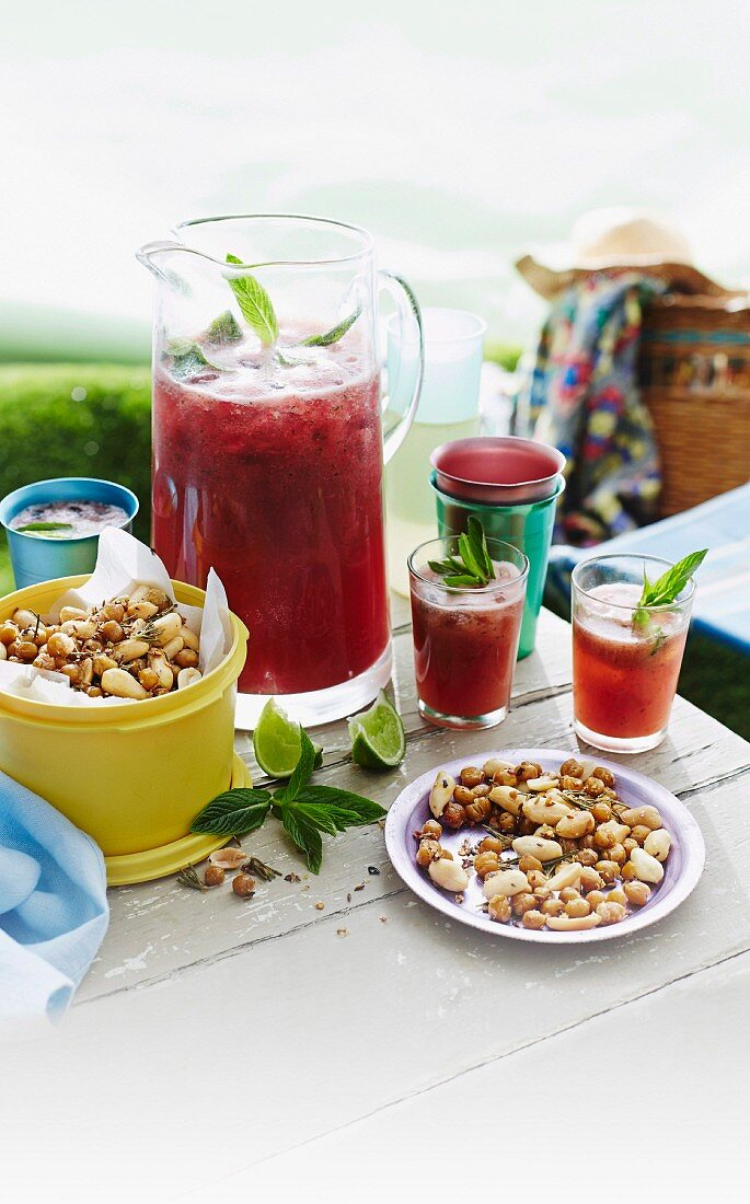 Watermelon and strawberry crush and Chickpea nibbles