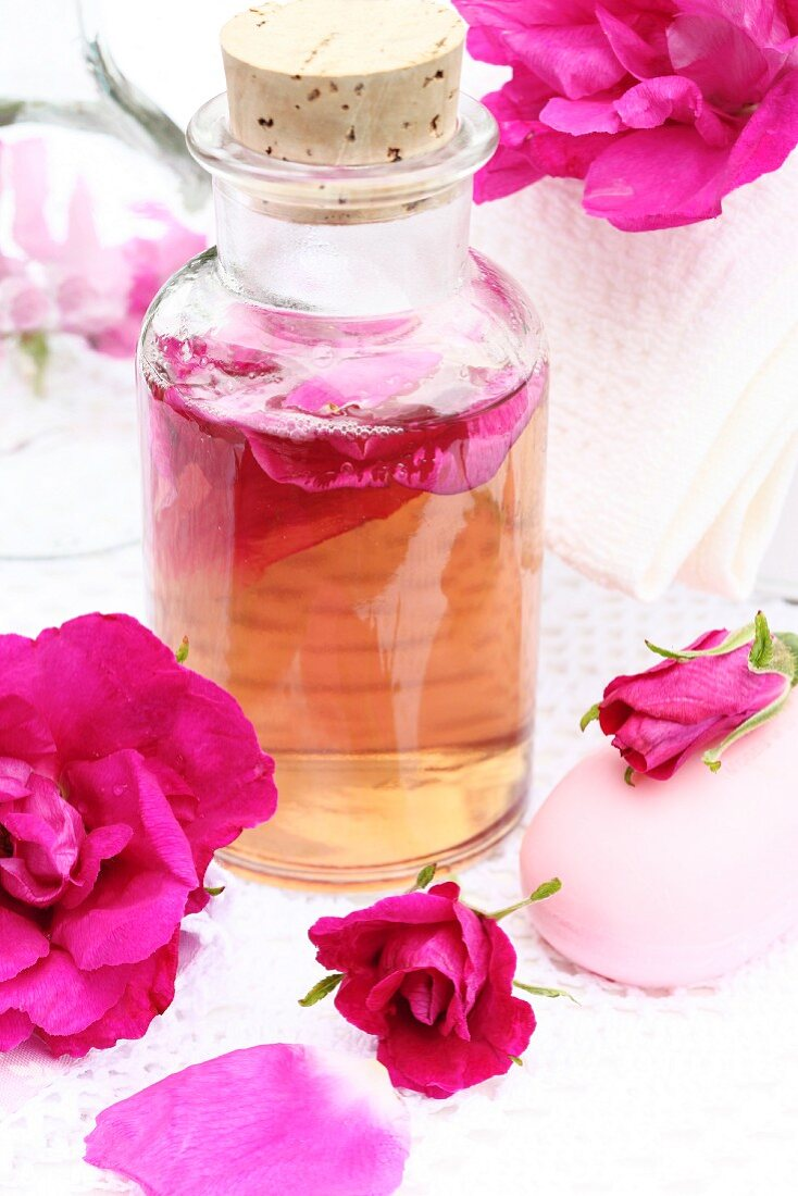 Home-made rosewater (for bathing, as a fragrance)
