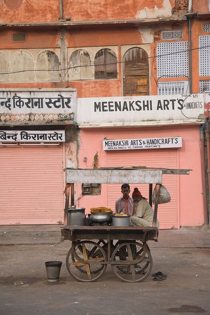 Street Food Vendor and Cart in Pink City, Jaipur, India