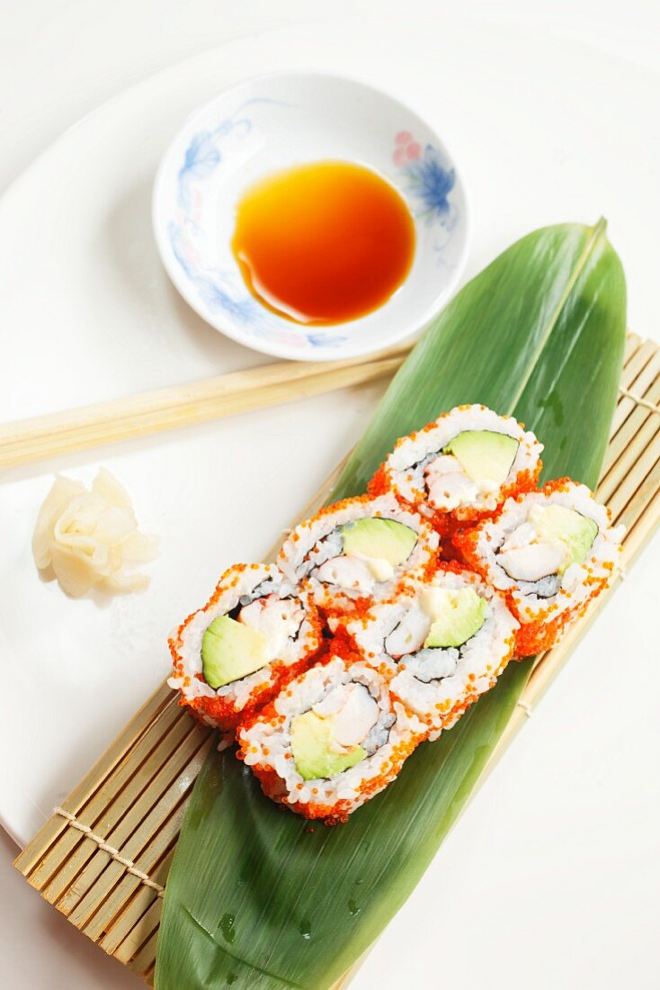 California rolls with avocado, ginger and soy sauce