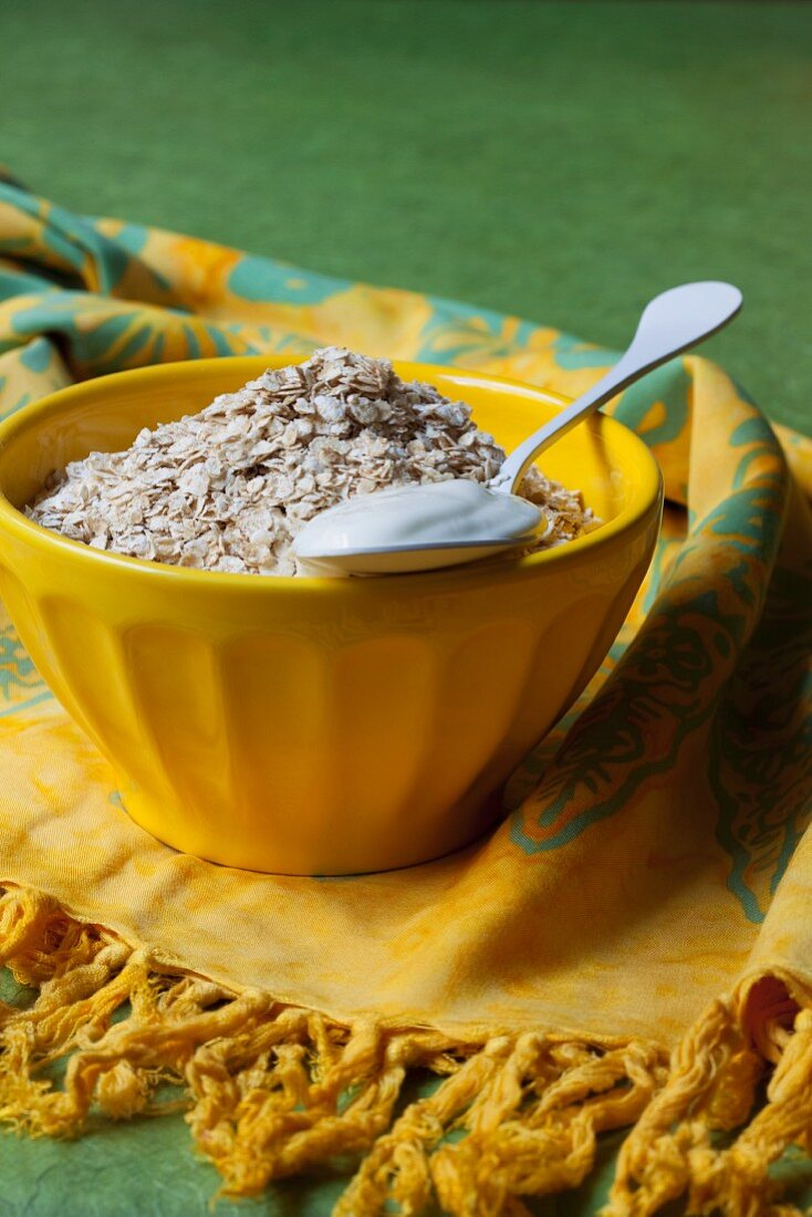 Oats and spoonful of yoghurt