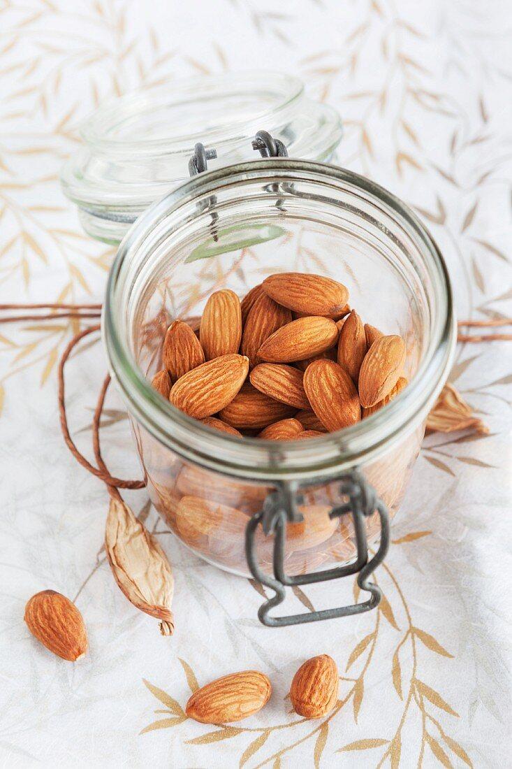 Almonds in storage jar
