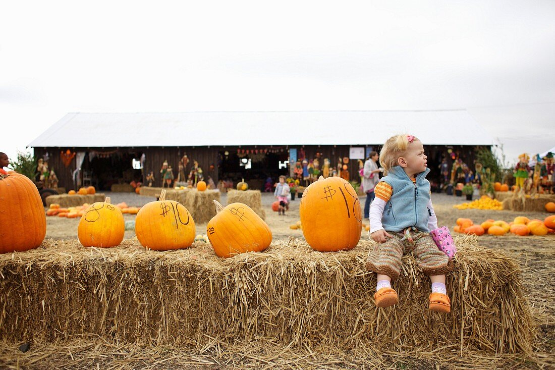 A child sitting on a hay bale next to a row of pumpkins