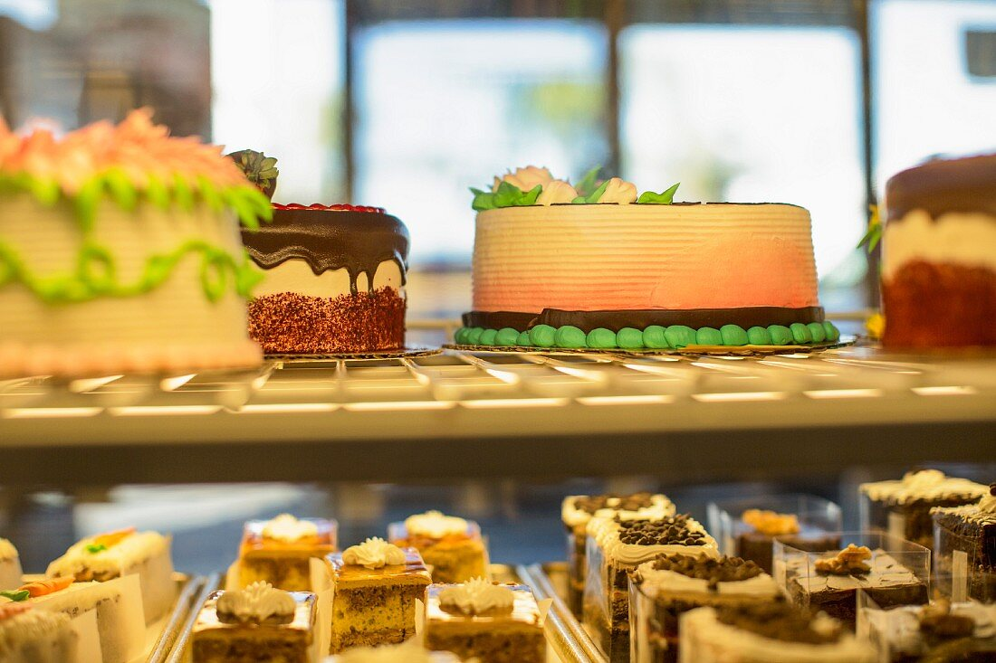 Cakes on display in a bakery