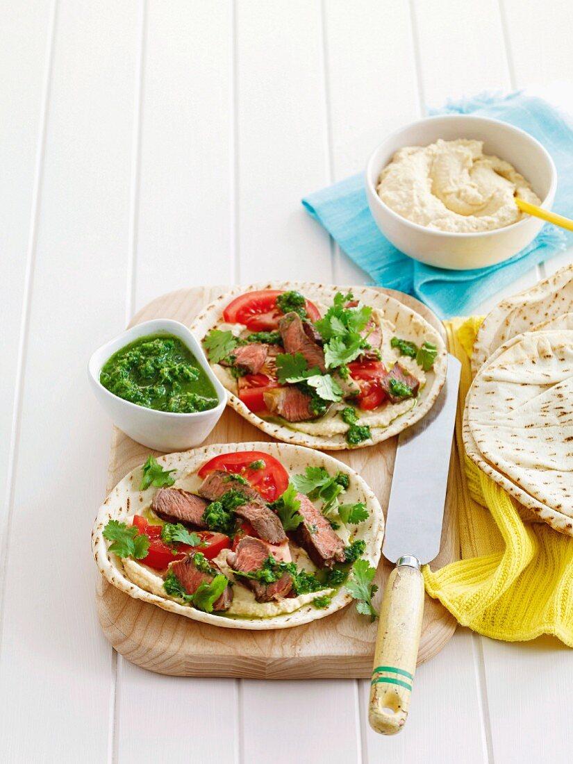 Lamb pita with salsa verde