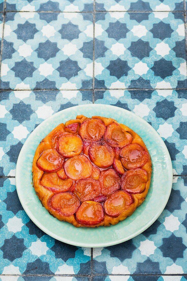 A tarte tatin made with nectarines