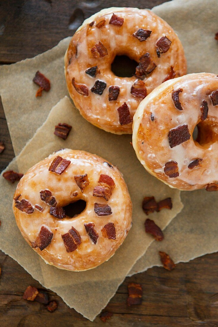 Glazed Donuts with Maple Bacon Bits