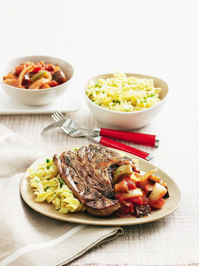 Lamb chops with ratatouille