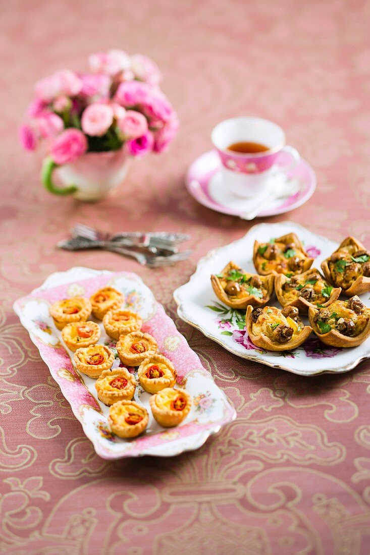 Mini savoury pastries served with tea