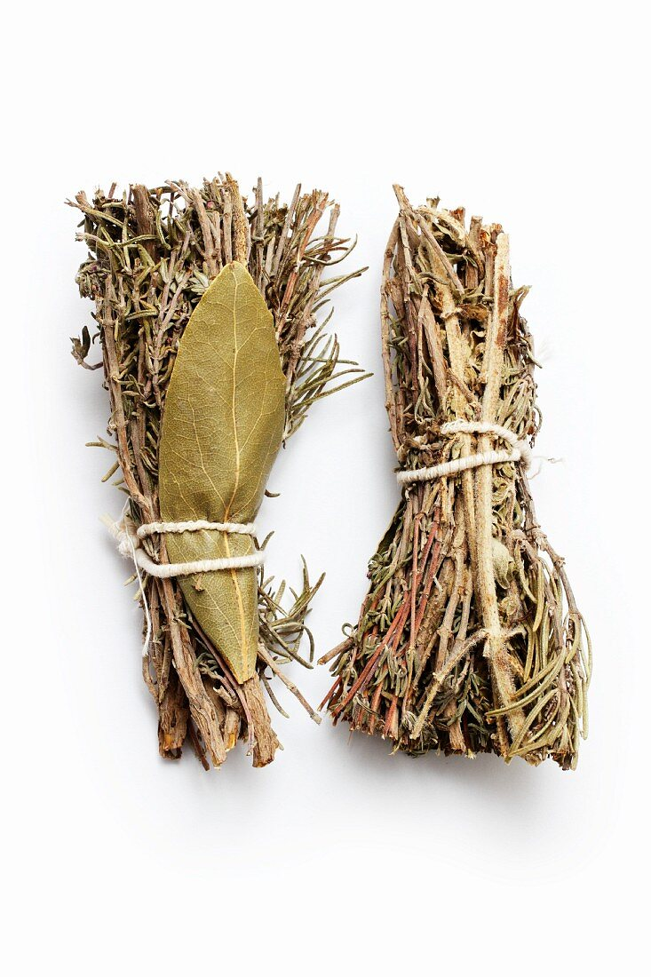 Dried bunches of herbs tied together