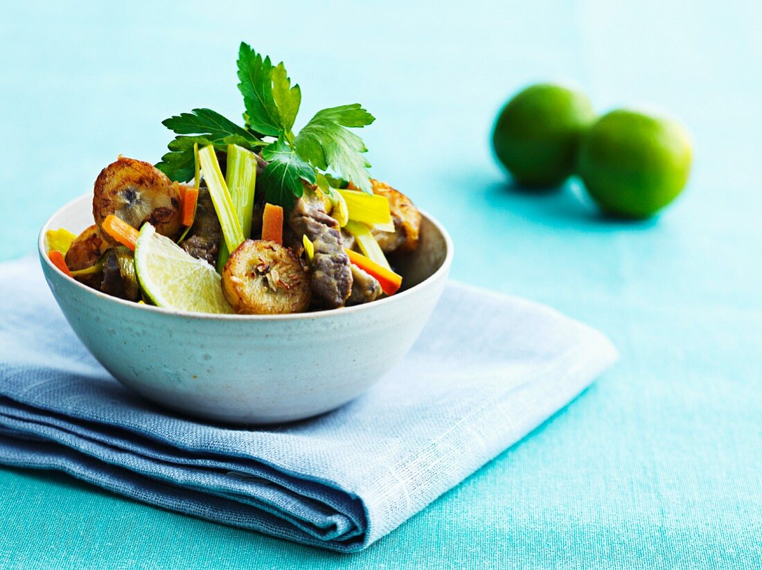 Beef with roasted banana and vegetables