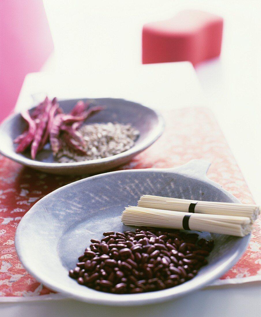 Decorative oriental stone bowls