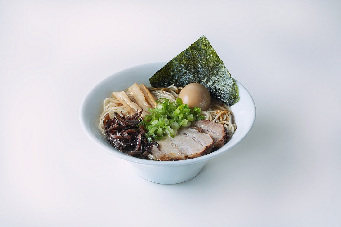 Noodle soup with eggs and pork (Japan)