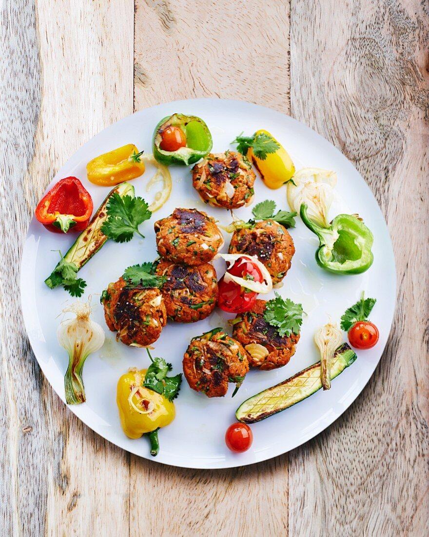 Köfte with grilled vegetables
