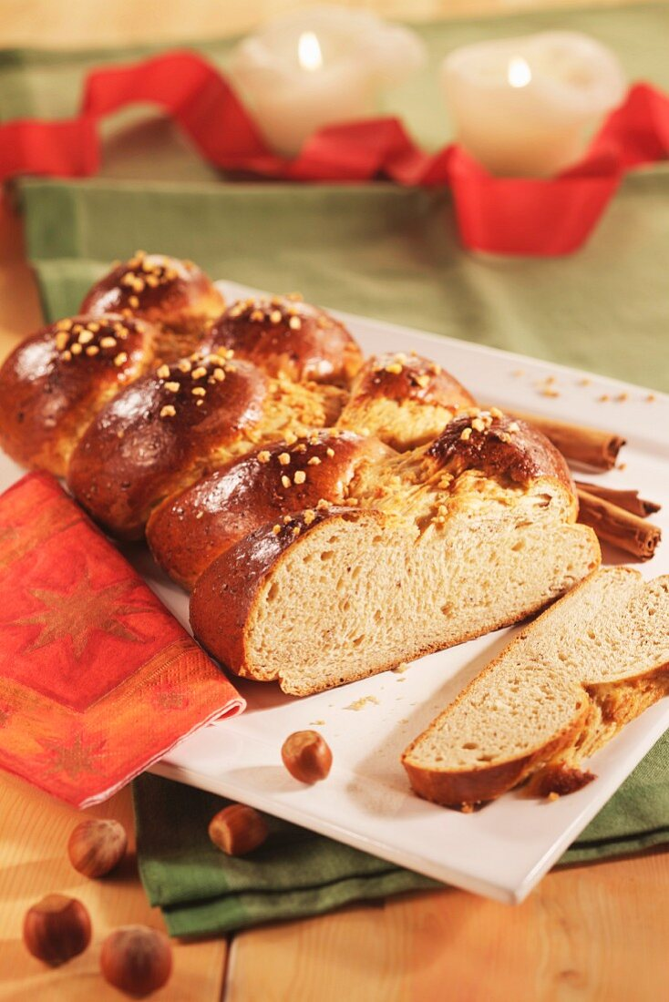 A loaf of cinnamon bread for Christmas