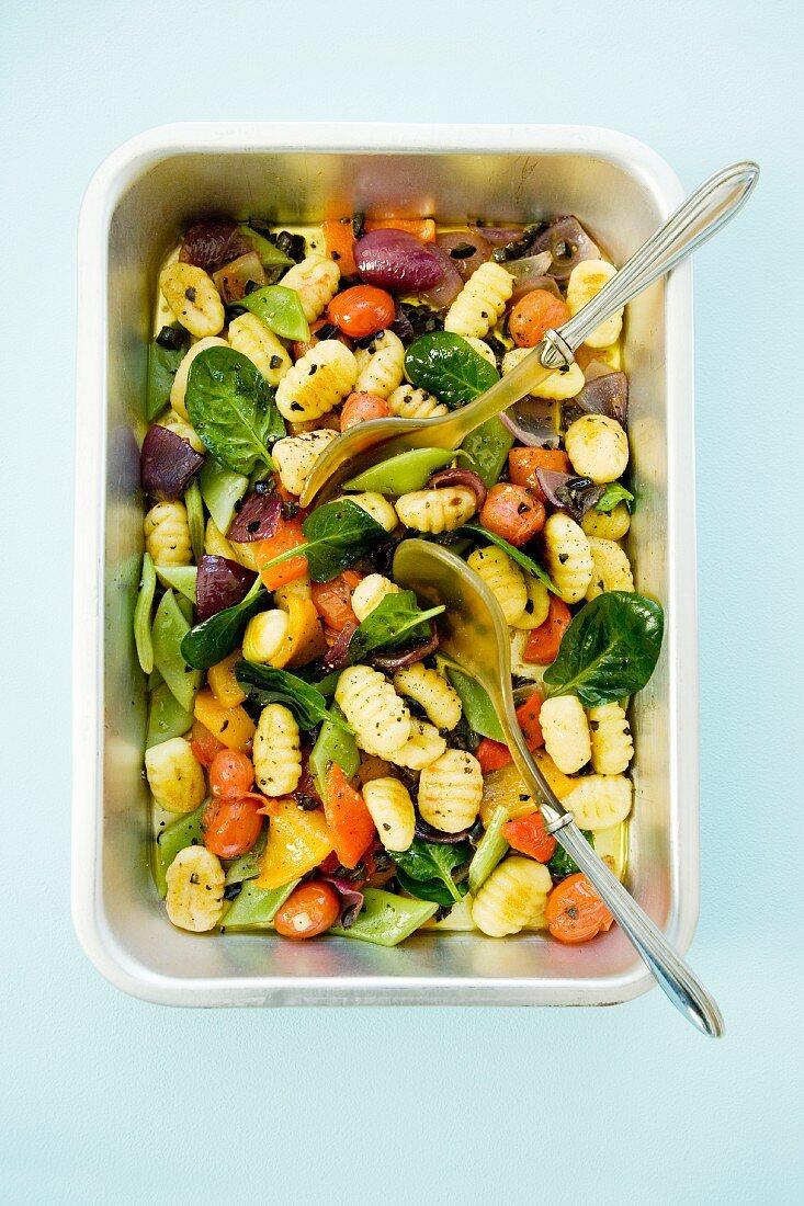 Gnocchi and vegetable salad