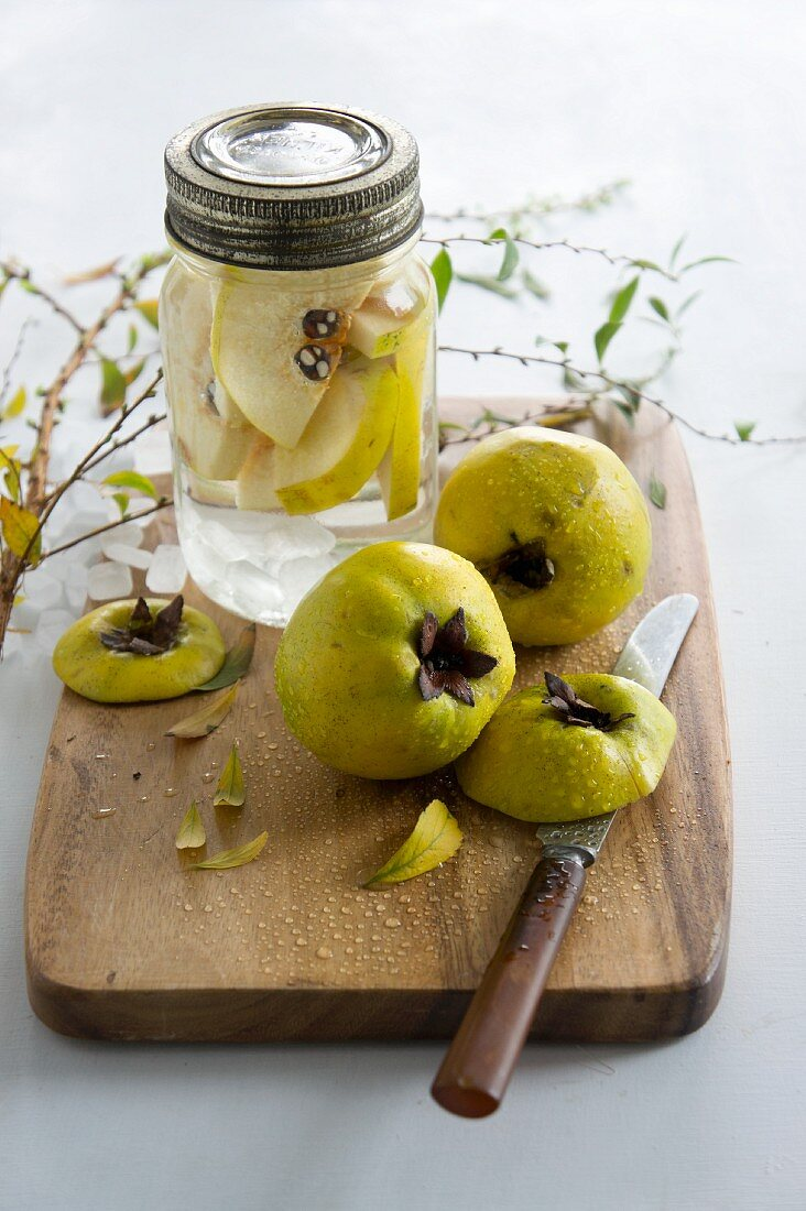 Quince schnapps being made