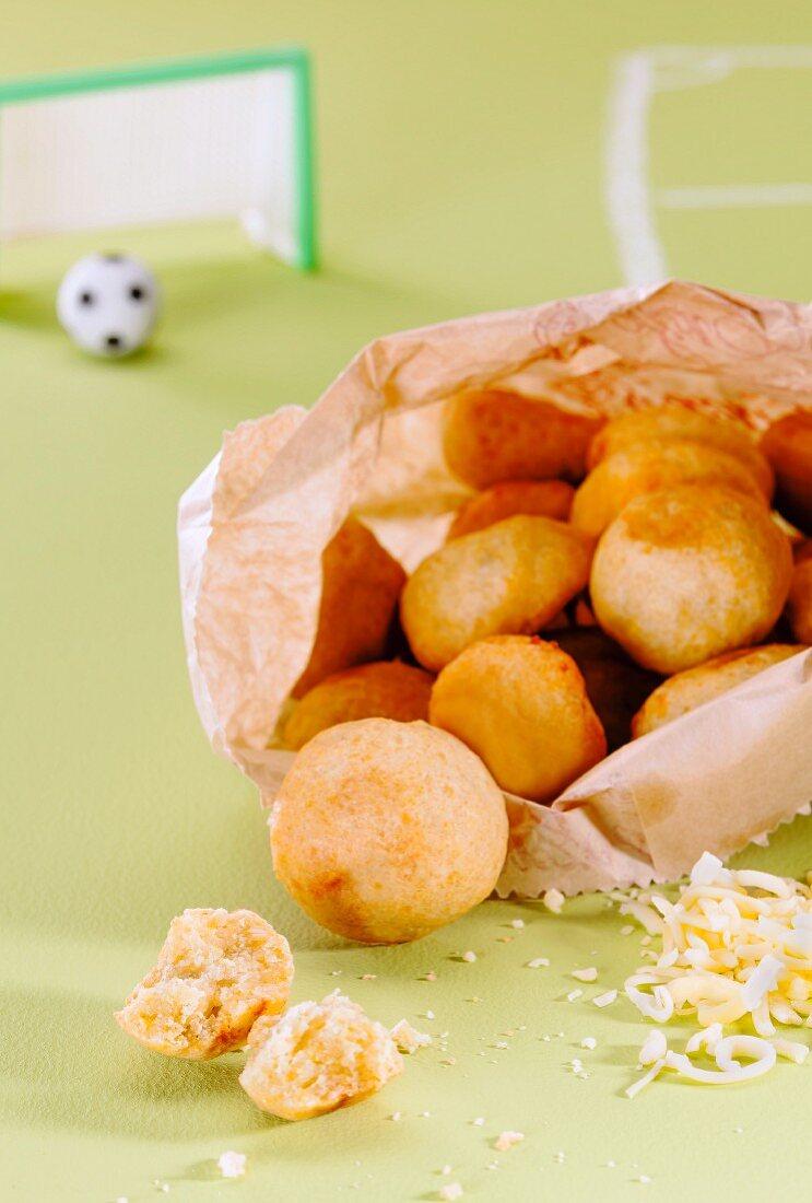 Pao de Queijo (cheese rolls, Brazil) for a football-themed party