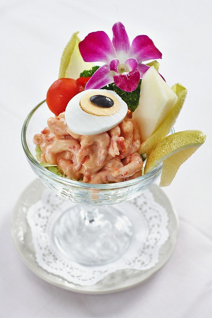 Prawn cocktail with a hard boiled egg