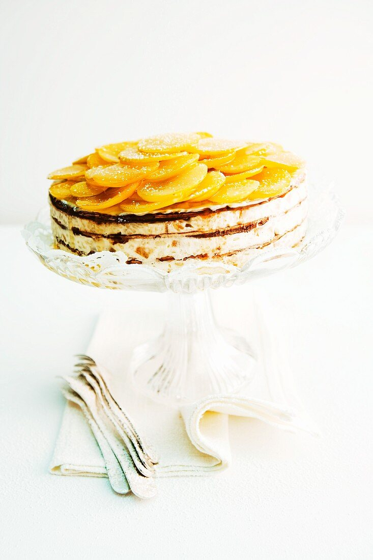 A rice pudding cake with mirabelles