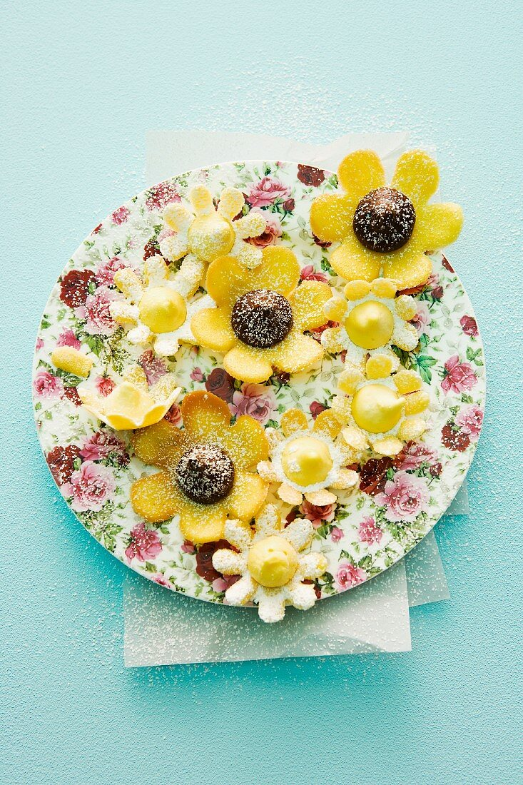 A plate of filled wafer flowers
