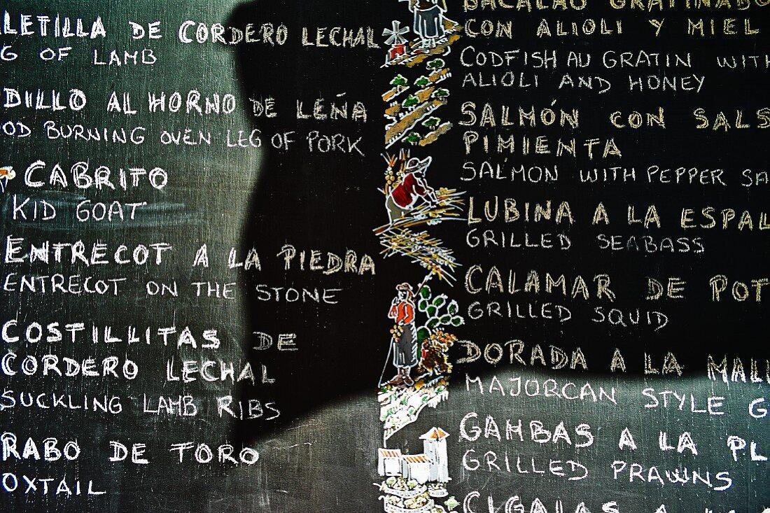 A menu on a blackboard