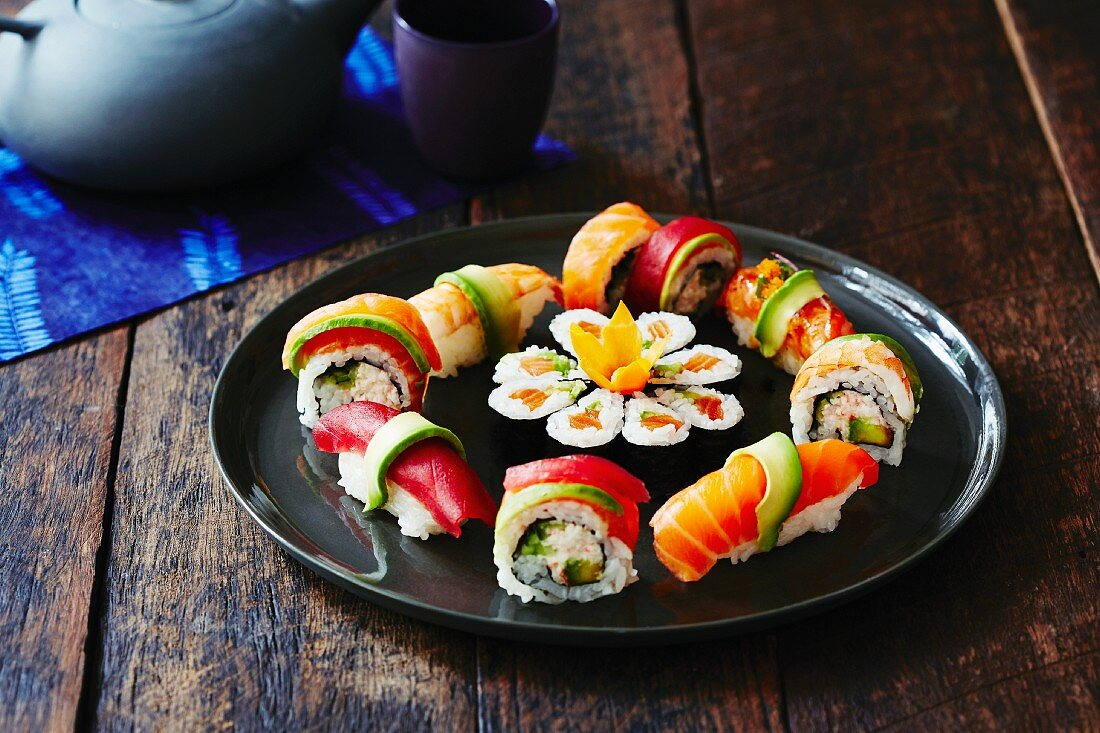 A colourful sushi platter with nigiri and maki (Japan)