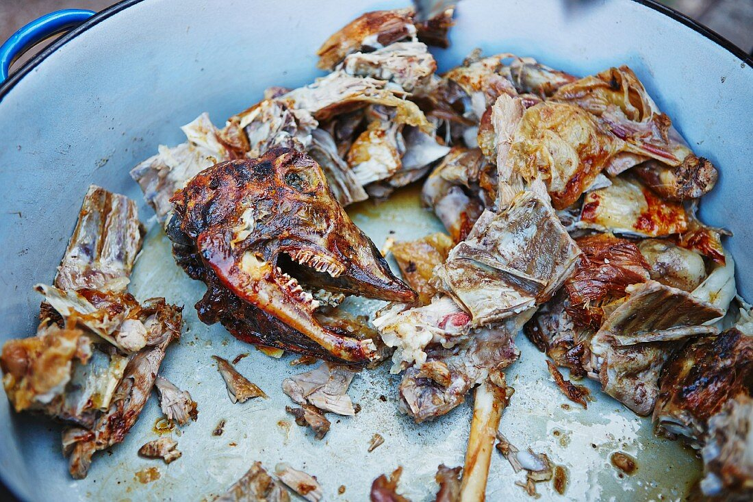 Leftovers of grilled lamb: head and bones