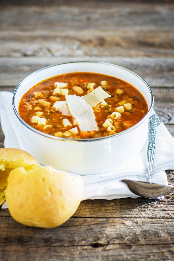 Minestrone with pasta and Parmesan