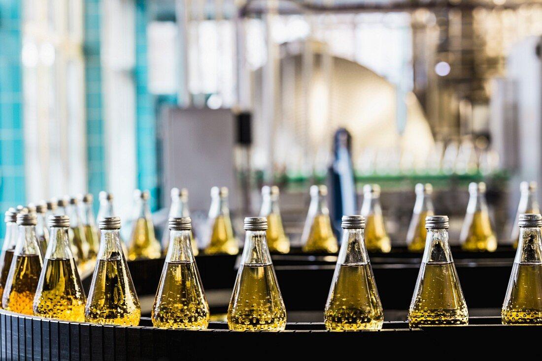 Bottles on a conveyor belt in a bottling plant