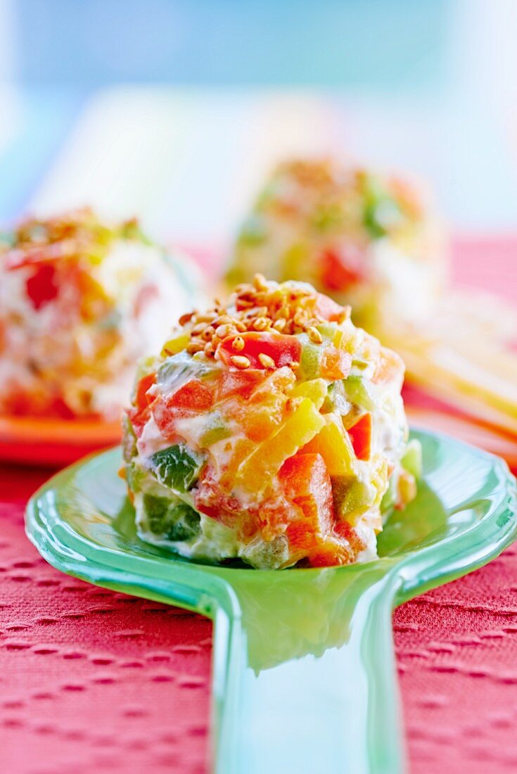 Colourful cream cheese and pepper balls