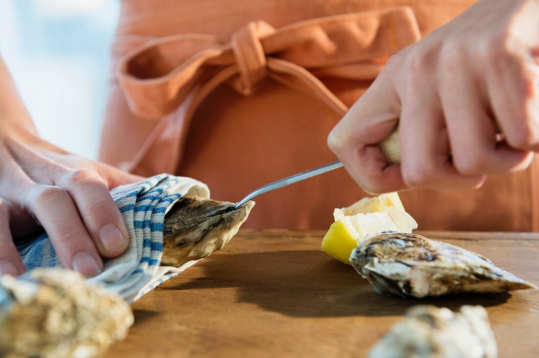 An oyster being opened