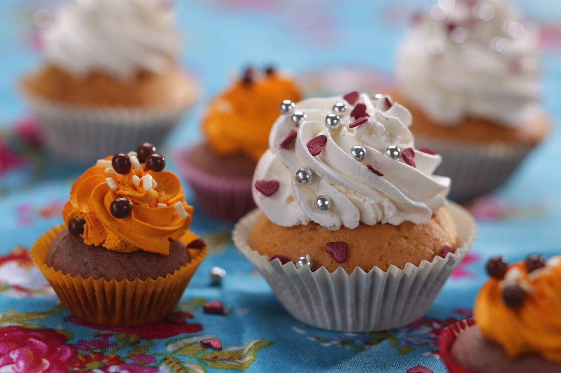 Assorted cupcakes with butter cream