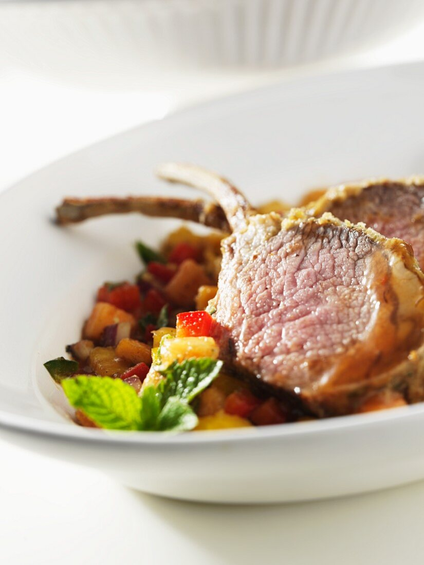Lamb chops on a bed of ratatouille