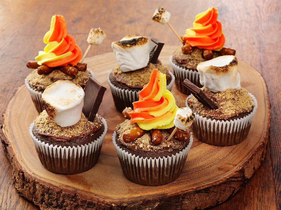Bonfire cupcakes with marshmallows