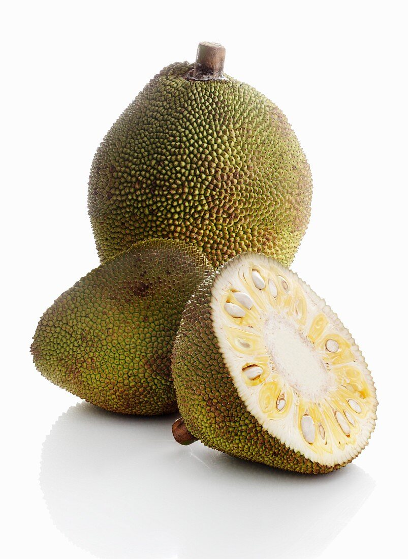 Jackfruit, whole and halved