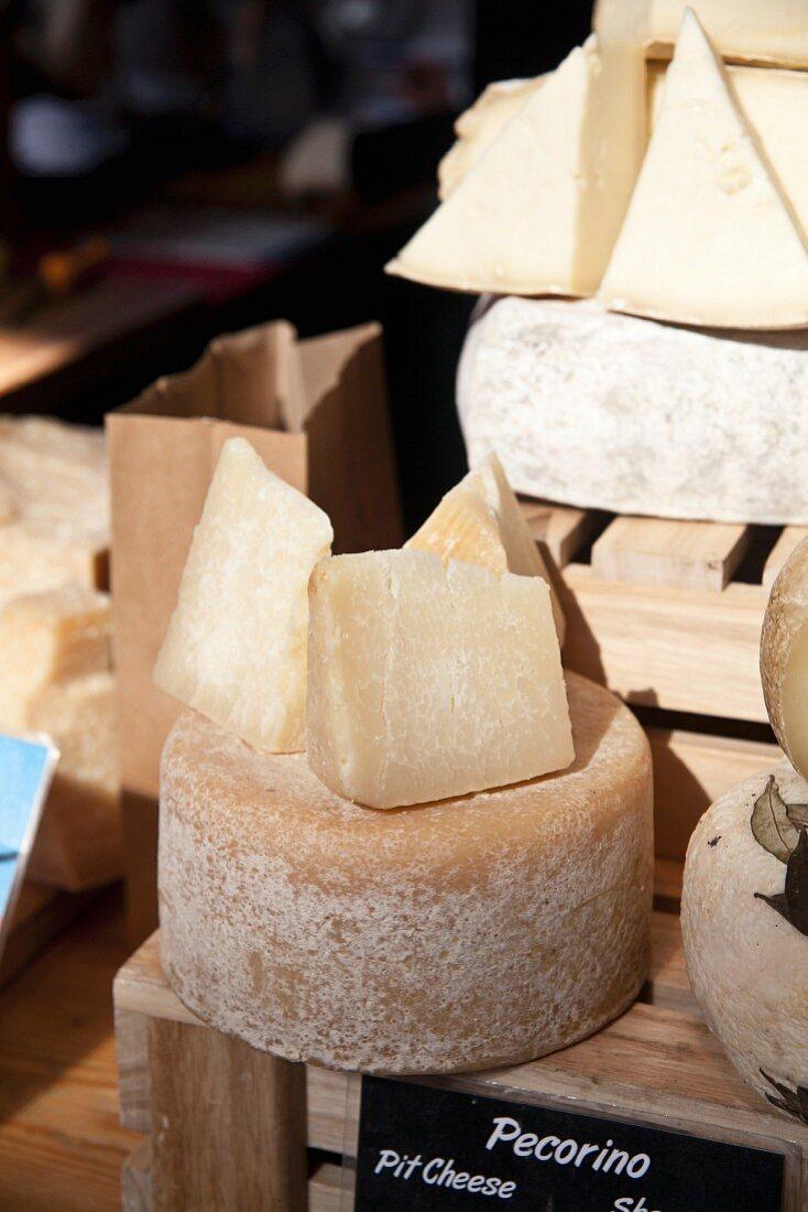 Pecorino cheese on a market stall