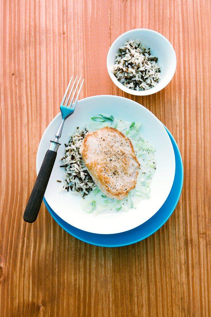 Turkey steak with gorgonzola sauce