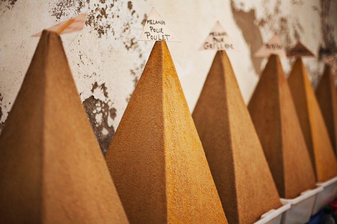Various spice pyramids in the city of Essaouira, Morocco