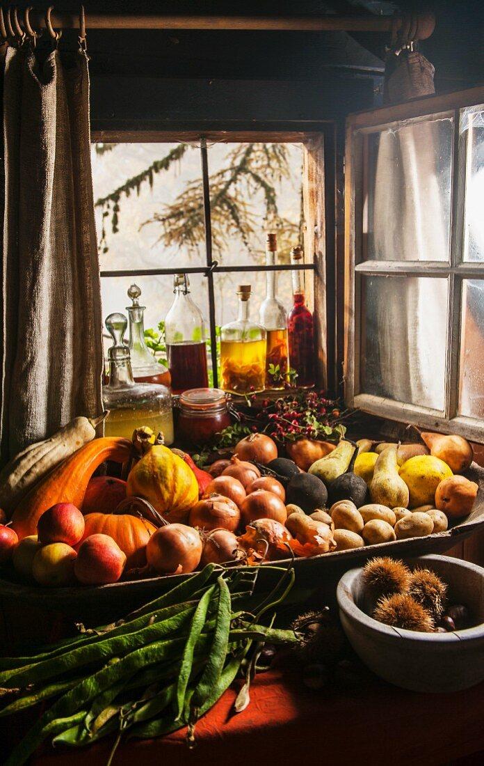 Freshly harvested fruit and vegetables