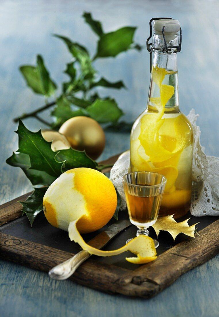 Homemade orange schnapps for Christmas