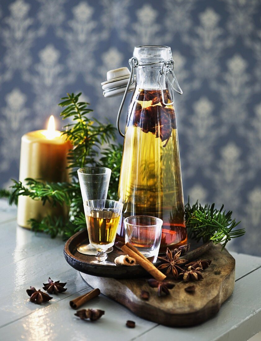 Aquavit flavoured with aniseed and cinnamon in a flip-top bottle (Scandinavia)