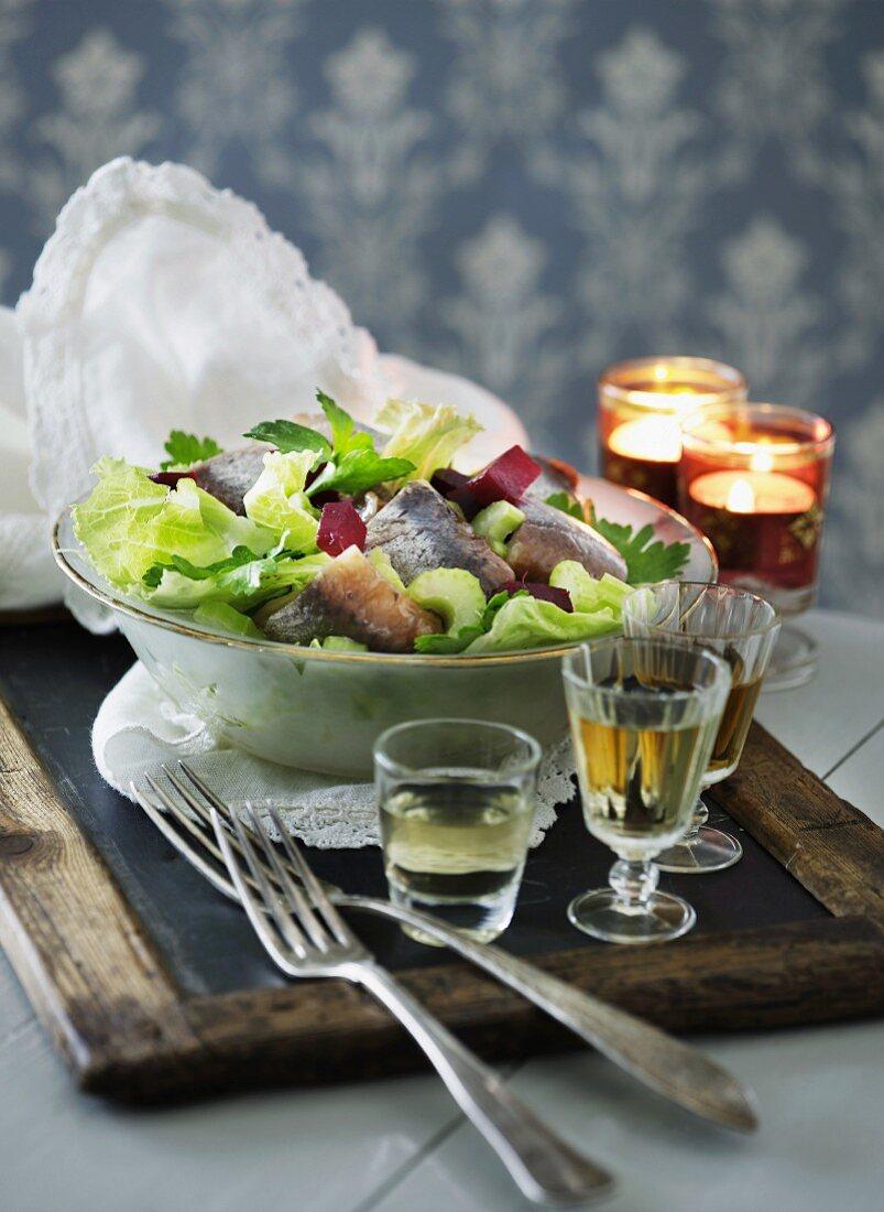 Salat mit Matjes, Rote Bete & Stangensellerie (Skandinavien)