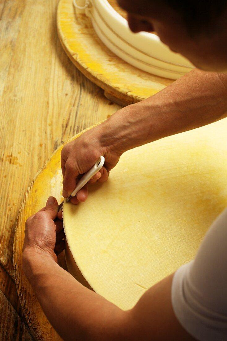 Vorarlberg Mountain Cheese being made (Bregenzerwald, Vorarlberg, Austria)