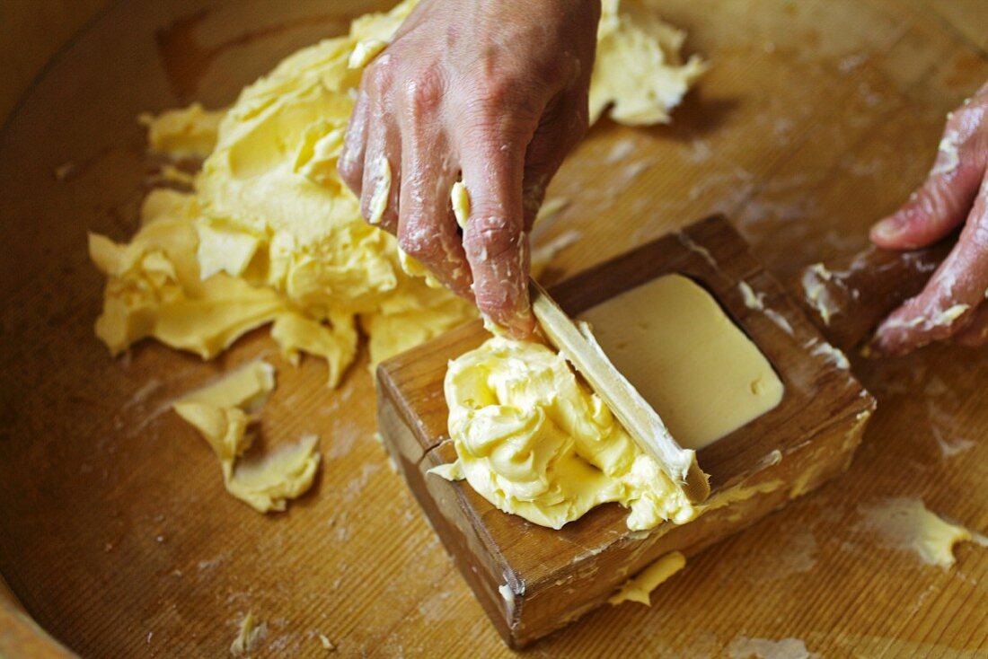 Butter being made on an Alp (Bregenzerwald, Vorarlberg, Austria)